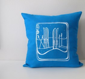Winter Snow Skis Pillow Cover